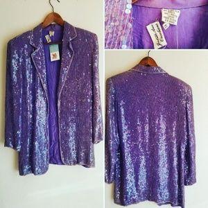 Vintage Lavender Sequins Blazer